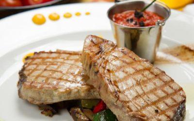 Tuna Steaks with Chunky Tomato Vinaigrette